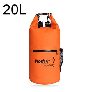 Drybag 20L wasserdichter Seesack, Rucksack in Orange, Rollbeutel mit zusätzlicher Netztasche, Reissverschlusstasche und 2 Tragegurten