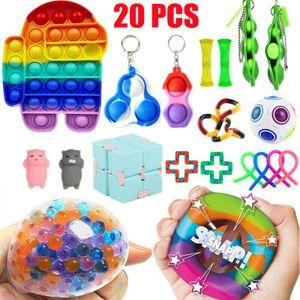 20 Stück / Set Push Bubble Fidget Spinner Antistress Toys Erwachsene Kinder Pop Fidget Sensory Toy