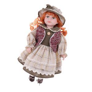 40cm Vintage Mädchenpuppe Dame in Beige Kleid