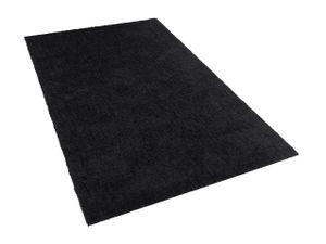 Teppich Schwarz 140 x 200 cm Shaggy mit Kuschelfaktor Handgetuftet Rechteckig Klassisch