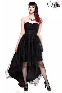 Trägerloses Tüll-Kleid, Farbe: Schwarz, Größe: L