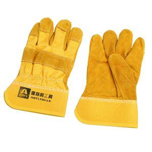 Yellow Mig Welding Gauntlets Schutzhandschuhe Hitzebeständiges Leder 2St