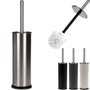 DEUBA® Toilettenbürste WC Bürste Klobürste mit Edelstahlgriff Toiletten Garnitur austauschbarem Bürstenkopf Metallbehälter, Farbe:Schwarz + Bürstenhalter