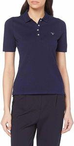 Gant Damen Poloshirt The Original Pique Unifarben, Größe:S, Farbe:Blau(433)