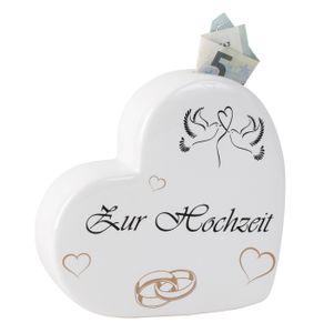 Spardose Herz zur Hochzeit 15 x 15 cm Weiss