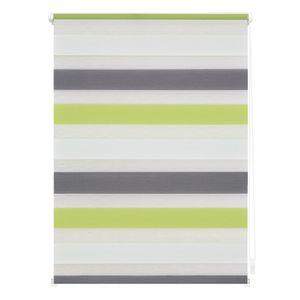 Duo-Rollo Klemmfix, ohne Bohren, Bunt Grün - Grau - Weiß 90 x 150 C