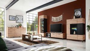 Lucas 3 Wohnzimmer Komplettset Artisan Eiche / Schwarz, LED-Beleuchtung:mit LED-Beleuchtung