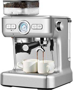 GOPLUS Kaffeevollautomat mit Milchaufschäumer, Kaffeemaschine mit 30-stufig Einstellbarer Feinheit, Automatisches Reinigung, 2-Tassen-Funktion, Herausnehmbare Brüheinheit, 1360 W, 2 L Wassertank