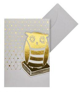 Moses lesezeichen in der Grußkarte Libri_x Eule magnetisch gold