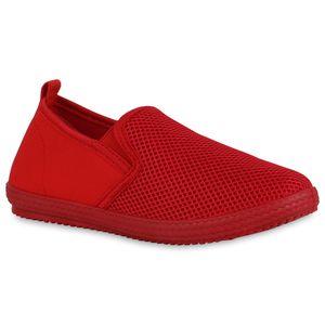 Mytrendshoe Damen Slip Ons Sneaker Bequeme Slippers Strick-Optik Profilsohle 834571, Farbe: Rot, Größe: 40