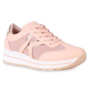 Mytrendshoe Damen Plateau Sneaker Glitzer Turnschuhe Schnürer Sportschuhe 821583, Farbe: Pink, Größe: 37