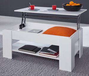 Stubentisch Universal weiß klappbare Tischplatte Couchtisch mit Ablage Wohnmöbel