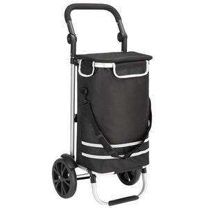 Monzana 2in1 Einkaufstrolley 56L bis 50 kg klappbar abnehmbare Tasche Handwagen Einkaufswagen Einkaufshilfe Roller, Farbe:schwarz