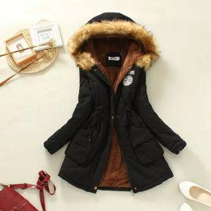 Winterjacke Lang Elegant, Mantel mit Kapuze Damen, Hoodie Warme Mantel Unplattbar Damen Mantel Lang Winter Parka Plüsch Gefütterte XL