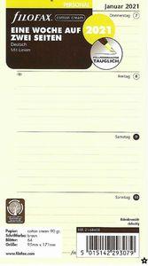 Filofax Kalendereinlage Personal 95 x 171 mm: Eine Woche auf zwei Seiten 2021 in cotton cream deutsch mit Linien