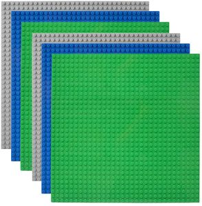 6 Platten-Set Bauplatte Kompatibel mit Meisten Marken, 25*25cm, Grüne Blaue Graue Grundplatte