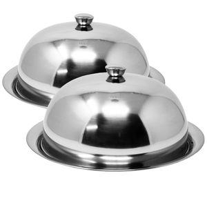 2 x Speiseglocke Ø 25 cm mit Unterteller Silber
