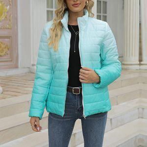 Damentasche mit Farbverlauf Wintermantel mit durchgehendem Reißverschluss und Stehkragen,Farbe: Himmelblau,Größe:XXL