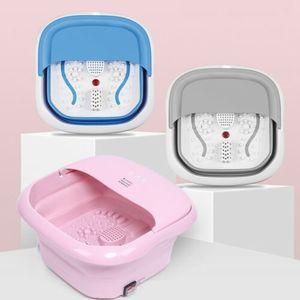 Faltbar Fußsprudelbad Fußbadewanne Fußmassagebad Fußbad Fuß Massagegerät 500W mit Thermostatisch Heizung (Rosa)