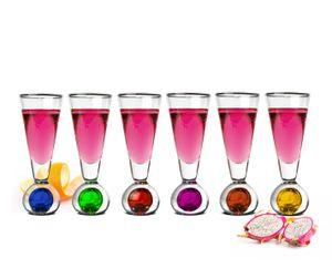 6 Bunte Schnapsgläser auf Füß 45ml Likörgläser Tequilagläser Schnaps Shots Stamper Aperitif