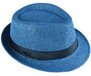 Panama Hut Fedora Strohhut Königsblau 56
