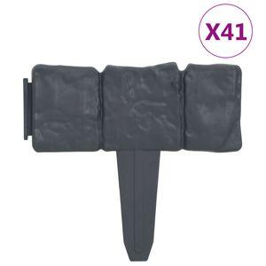 vidaXL Rasenkante Steinoptik 41 Stk. Kunststoff 10 m