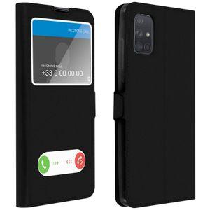 Samsung Galaxy A71 Flip Cover Doppelfenster & Standfunktion – Schwarz