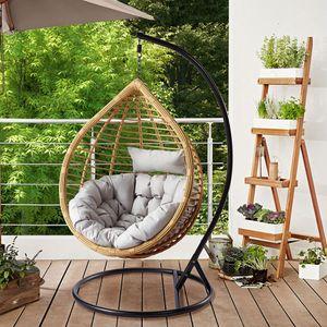 Mirjan24 Hängesessel Bali, Stilvoll Hängekorb, Gartensessel mit Stahlskelett, Rattan, Kokon (Schwarz / Natur + Grau Kissen)