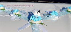 Autoschmuck Autogesteck Hochzeit Brautauto Autogirlande hellblau türkis AU0014