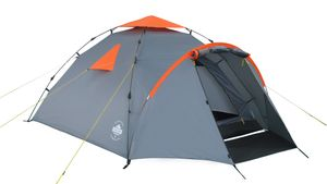 Lumaland Outdoor Camping Familienzelt Quick Up System 3 Personen robust grau