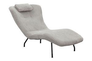 SalesFever Relaxliege mit Nackenkissen | Bezug Texturstoff | Gestell Metall schwarz | B 80 x T 180 x H 82 cm | hellgrau