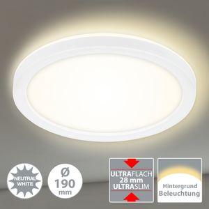 LED Panel Deckenlampe Hintergrundbeleuchtungseffekt 12W Ø19cm Briloner Leuchten