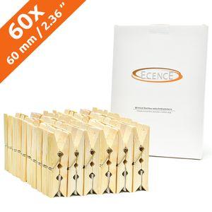 ECENCE Wäscheklammern Bambus-Holz, 60 Stck., 60 x 12.5 x 11mm, Bastelklammern, nachhaltige Holzklam