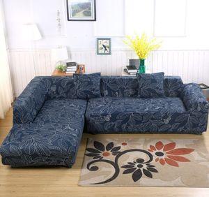 3 Sitze Sofa Überwürfe Sofabezug Stretch elastische Sofahusse Sofa Abdeckung + 2 St Kissenbezüge für Sofa Sectional Couch (Blaue Blätter,170-220cm)