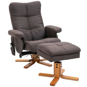 HOMCOM Massagesessel mit Fußhocker Relaxsessel Heizfunktion TV-Sessel Polyester Braun 145°-Neigung 80 x 86 x 99 cm