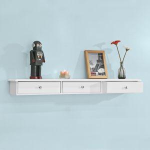 SoBuy® Wandschrank mit 3 Schubladen,Hängeschrank,weiß,FRG43-L-W