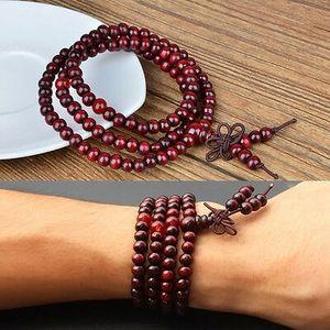 Rosenholz Mala 108 Perlen Buddhistische Gebetskette Rosenkranz Holz Armband I9Q8