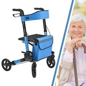 Juskys Aluminium Rollator Vital klappbar & leicht inkl. Sitz, Tasche, Bremse & Gehstock-Halterung | 6-fach höhenverstellbar | 130 kg | petrol-blau