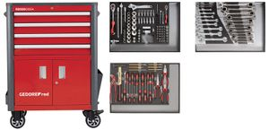 GEDORE GEDORE red Werkzeugsatz im Werkstattwagen WINGMAN rot 129-teilig, R22041004