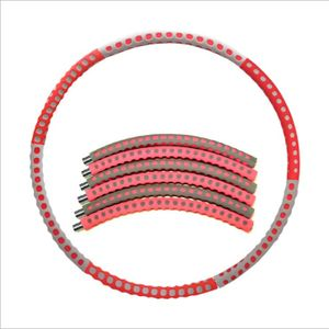Fitness Hula Hoop Series  mit Schaumstoff  96CM Freie Gewichtszunahme (2-6 kg) Rot+Grau