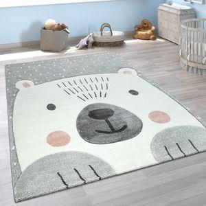 Kinderzimmer Spiel Kinder Teppich Grau Weiß Bär Motiv 3-D Design Kurzflor Weich, Grösse:80x150 cm