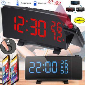 Digital FM Radiowecker Lichtwecker mit Projektion 2xUSB Uhrenradio UKW Schlummer Alarm Dimmbar Tischuhr LED-Wecker Schlummerthermometer projektionswecker