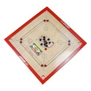 Carrom - Komplett - Official  India - 84 x84 cm - Rote Farbe  Spitzenqualität