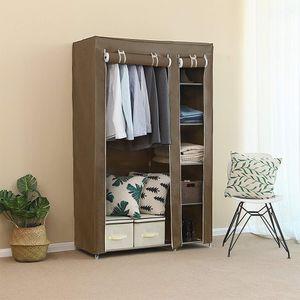 Kleiderschrank Stoffschrank Faltschrank Wäscheschrank Garderobe mit Kleiderstange Vlies Gewebe 10x45x178cm Braun