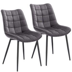WOLTU Esszimmerstühle BH142dgr-2 2er Set Küchenstuhl Polsterstuhl Wohnzimmerstuhl Sessel mit Rückenlehne, Sitzfläche aus Samt, Metallbeine, Dunkelgrau