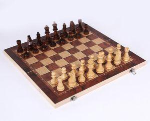3-in-1 Schach, Schachspiel + Dame + Backgammon aus Holz 34 x 34cm Feldgröße