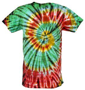 Batik T-Shirt, Herren Kurzarm Tie Dye Shirt - Hellgrün/rot Spirale, Baumwolle, Größe: XXL