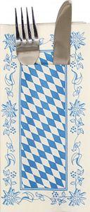 Servietten mit Bestecktasche - Rautendesign und Bordüre - 33913 - ca. 40 x 40 cm - 100 Stck.