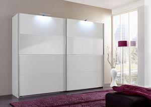 Schwebetürenschrank Kleiderschrank Bramfeld weiß / Weißglas 270cm