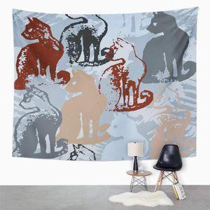 PKQWTM mit Katzenstempeln Sloppy Strokes Paint für Blob Blot Blotch Inländische endlose Wandkunst hängender Wandteppich 150x200 cm